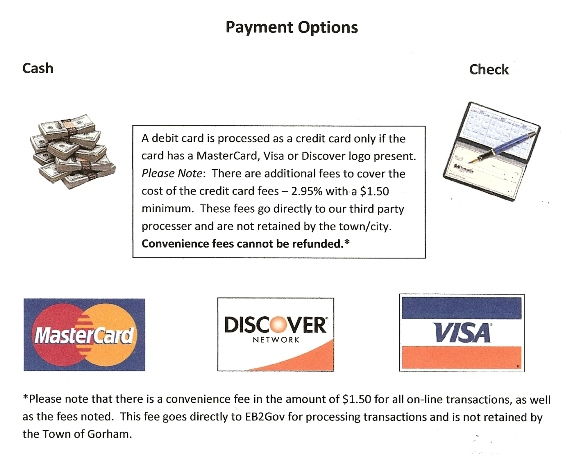 Flyer with an explanation of Payment Options