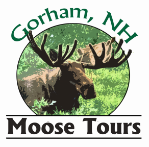 Gorham, New Hampshire Moose Tours Logo with a Picture of a moose in brush